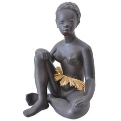 Exotic African Women Sculpture by Leopold Anzengruber, Vienna 1950s