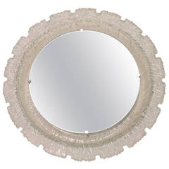 1970s Round Hillebrand Resin Illuminated Mirror