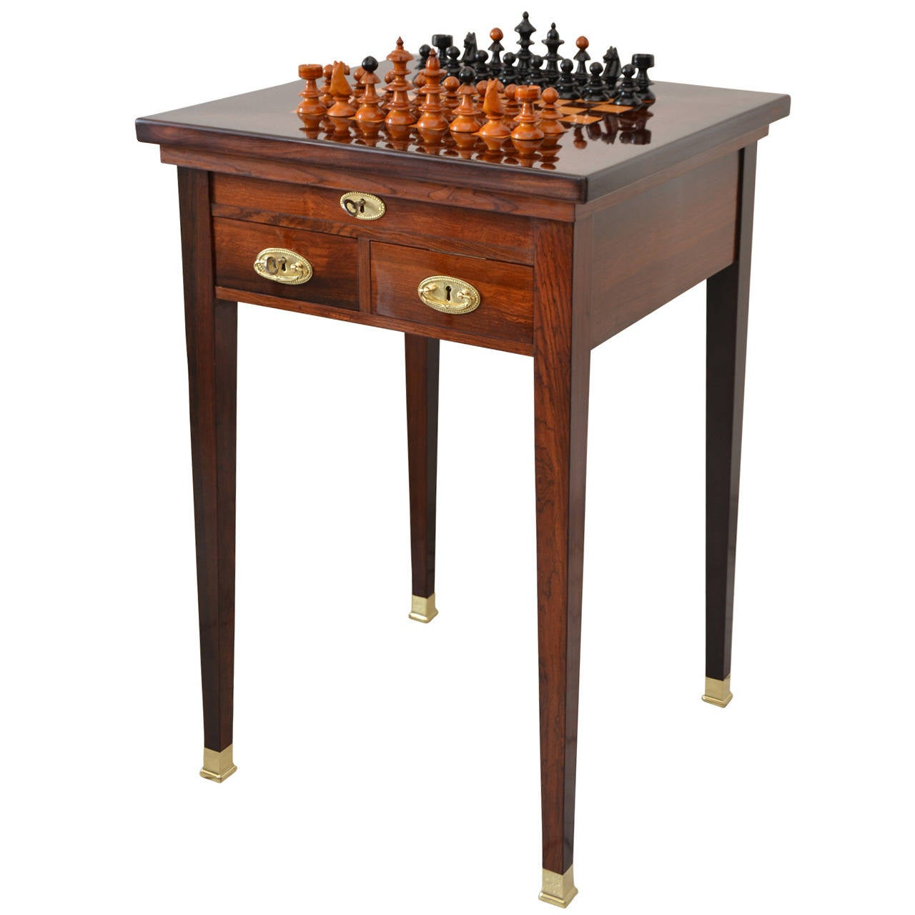Viennese Convertible Chess Table in Rosewood Veneer