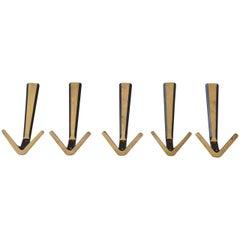 Set of 10 Brass Wall Hooks