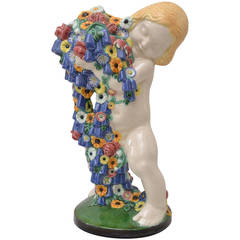 Michael Powolny Wiener Keramik Spring Putto Monumental Ceramic