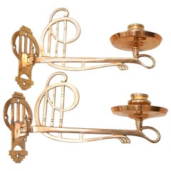 Two Jugendstil Piano Candle Holder Solid Bronze