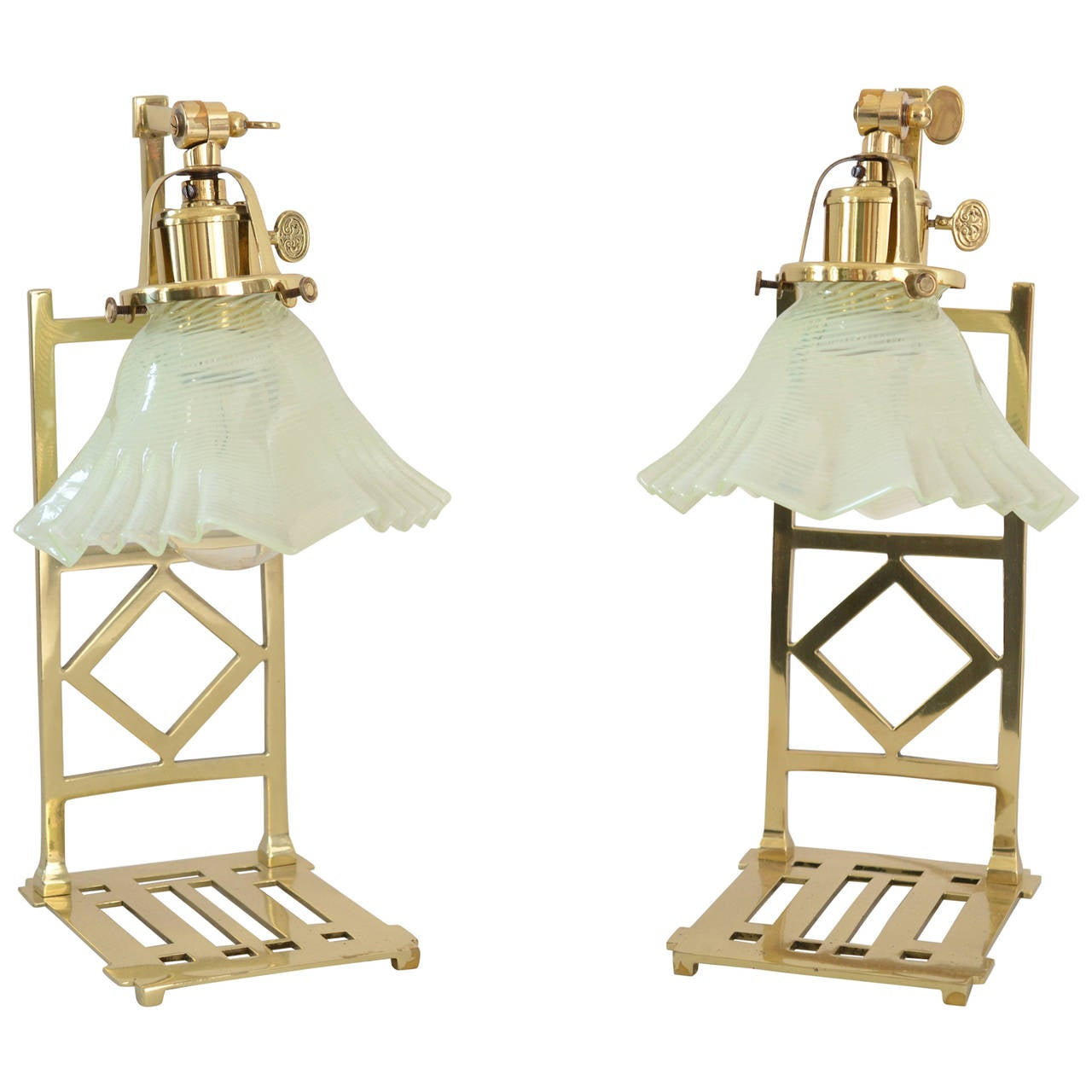 Two Jugendstil Table Lamps with Opaline Glass Shades