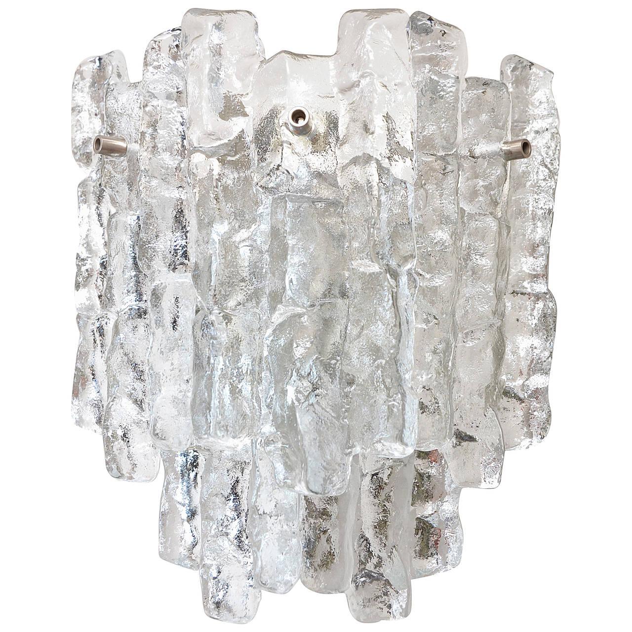 Massive  Kalmar Ice Glass Sconce