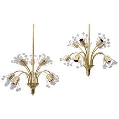 Three Floral Brass and Glass Sputnik Pendants by Emil Stejnar, 1950s