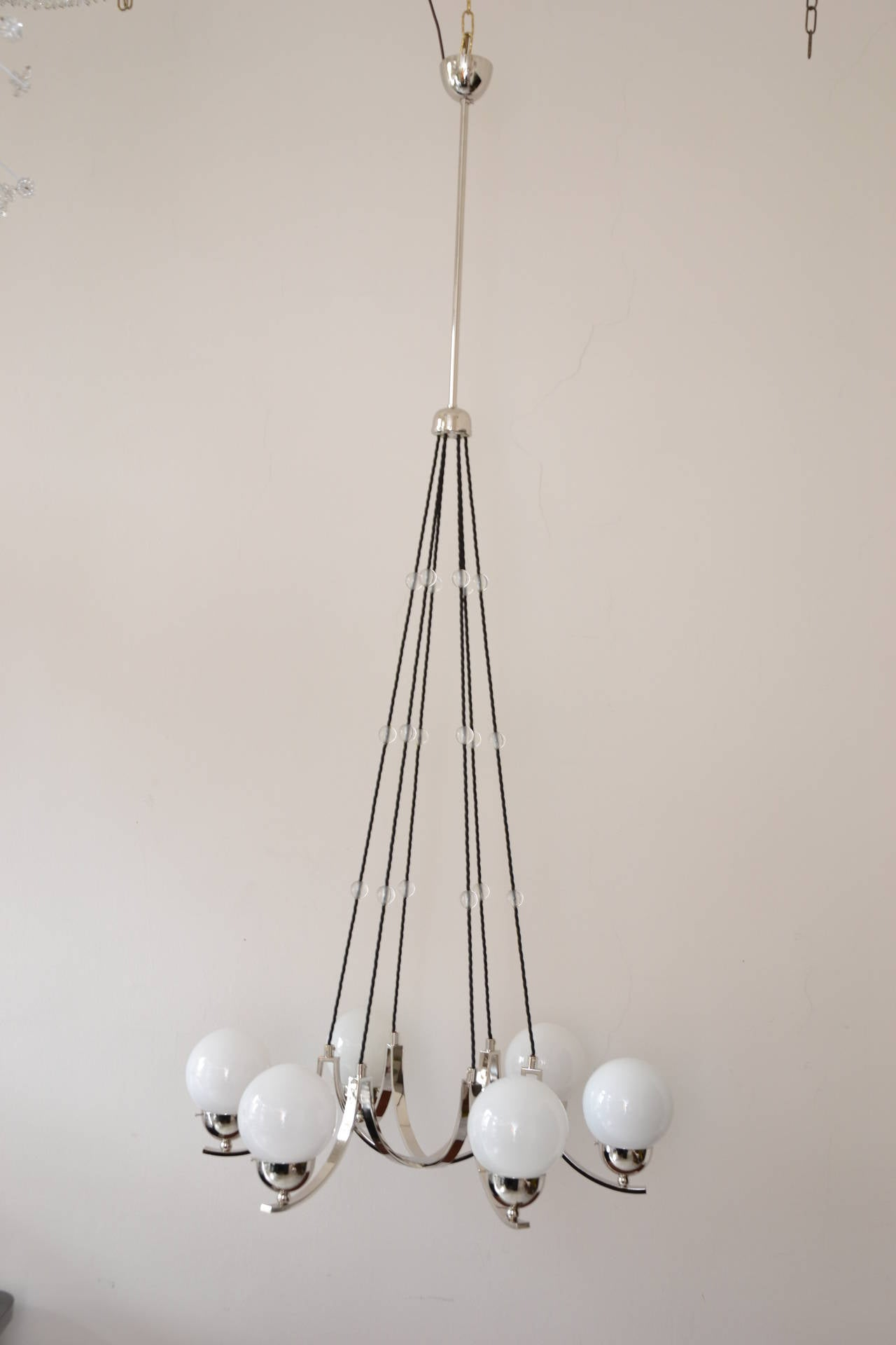 Early 20th Century Art Deco Nickel-Plated Chandelier For Sale