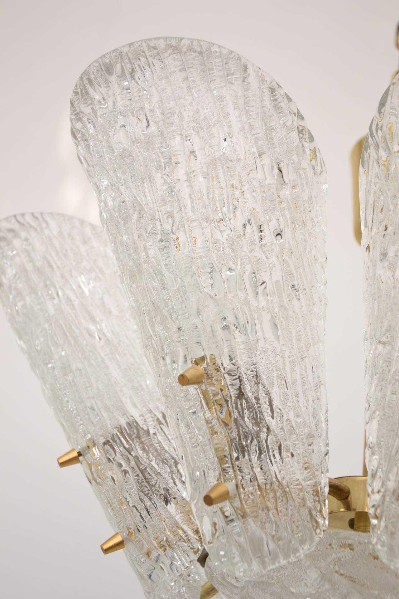 Austrian Kalmar Vienna Brass Chandelier with White Textured Glass Lamp Shades For Sale