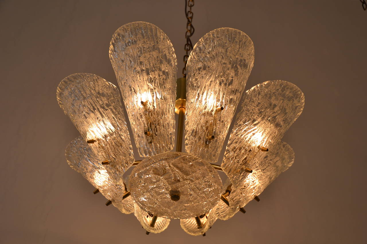 Mid-20th Century Kalmar Vienna Brass Chandelier with White Textured Glass Lamp Shades For Sale