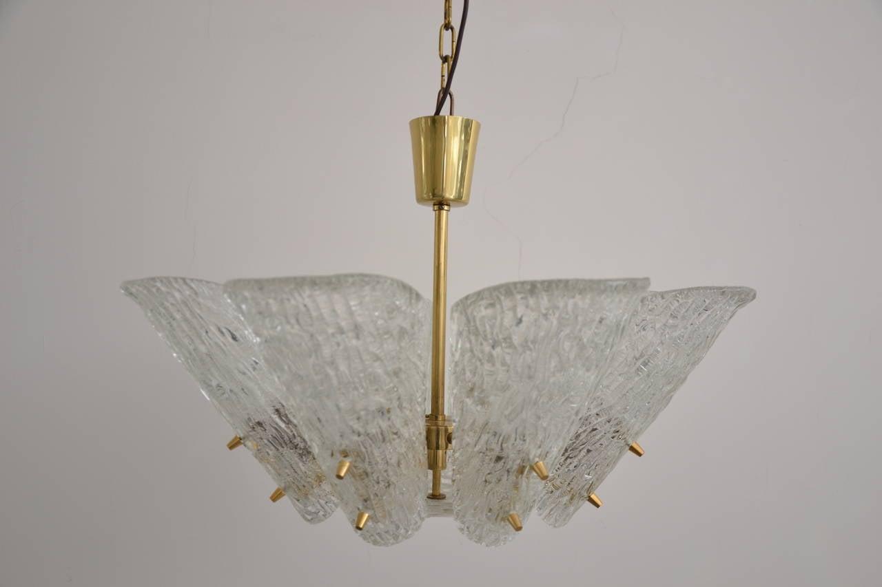Kalmar Vienna Brass Chandelier with White Textured Glass Lamp Shades original condition