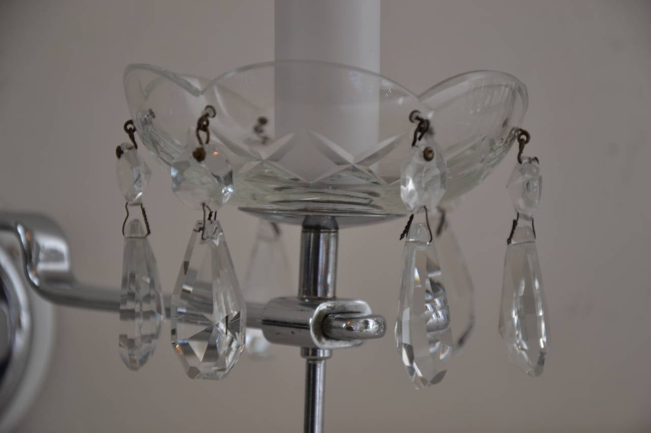 Two Art Deco Wall Sconces, Crystal Brass Chromed 7