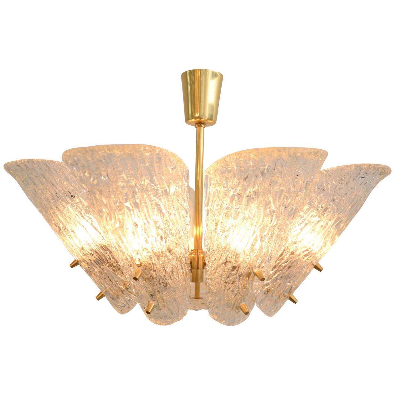 Kalmar Vienna Brass Chandelier with White Textured Glass Lamp Shades For Sale
