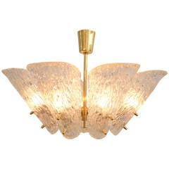 Kalmar Vienna Brass Chandelier with White Textured Glass Lamp Shades