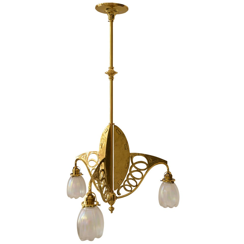 Art Nouveau Three-Light Ceiling Lamp Brass Partly Hammered For Sale