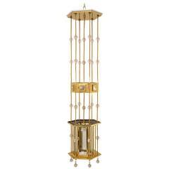 Vienna Art Nouveau Hexagonal Lantern with Hand-Cut Glass