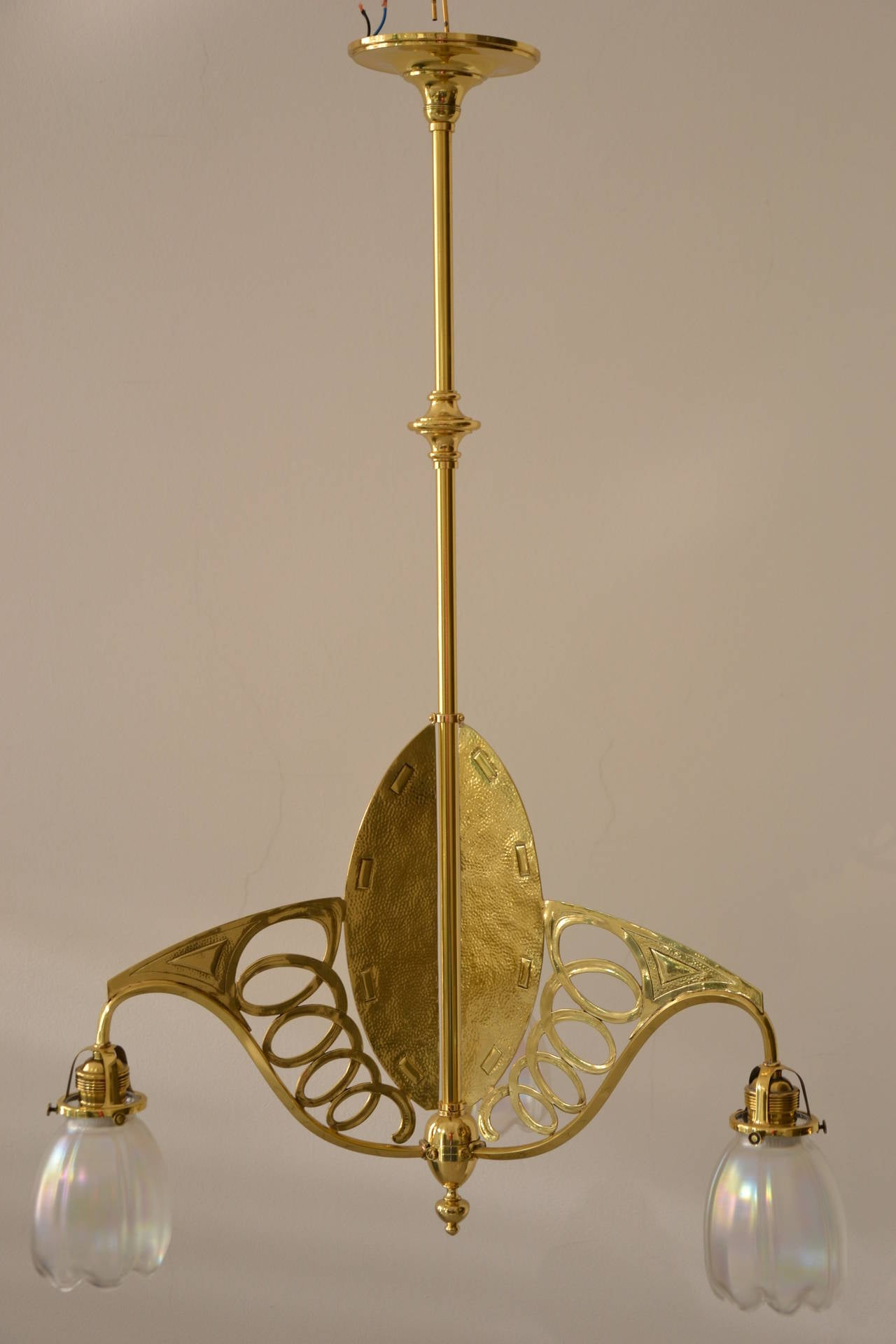 Austrian Art Nouveau Three-Light Ceiling Lamp Brass Partly Hammered For Sale