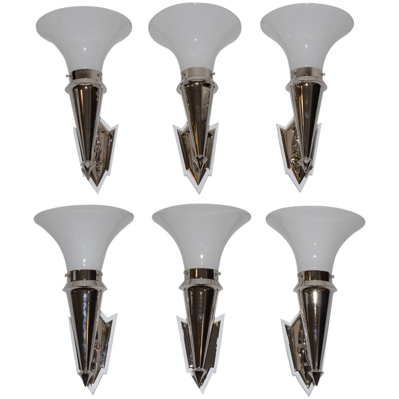 Wall Lamp Art Deco : six art deco nickel wall lamps For Sale at 1stdibs
