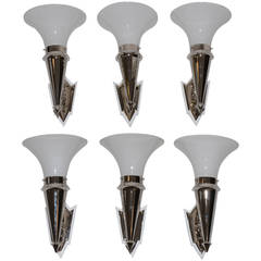 sechs Art-Deco-Nickel-Wandlampen