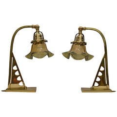 Pair of Table Lamps with Opaline Glass Shade