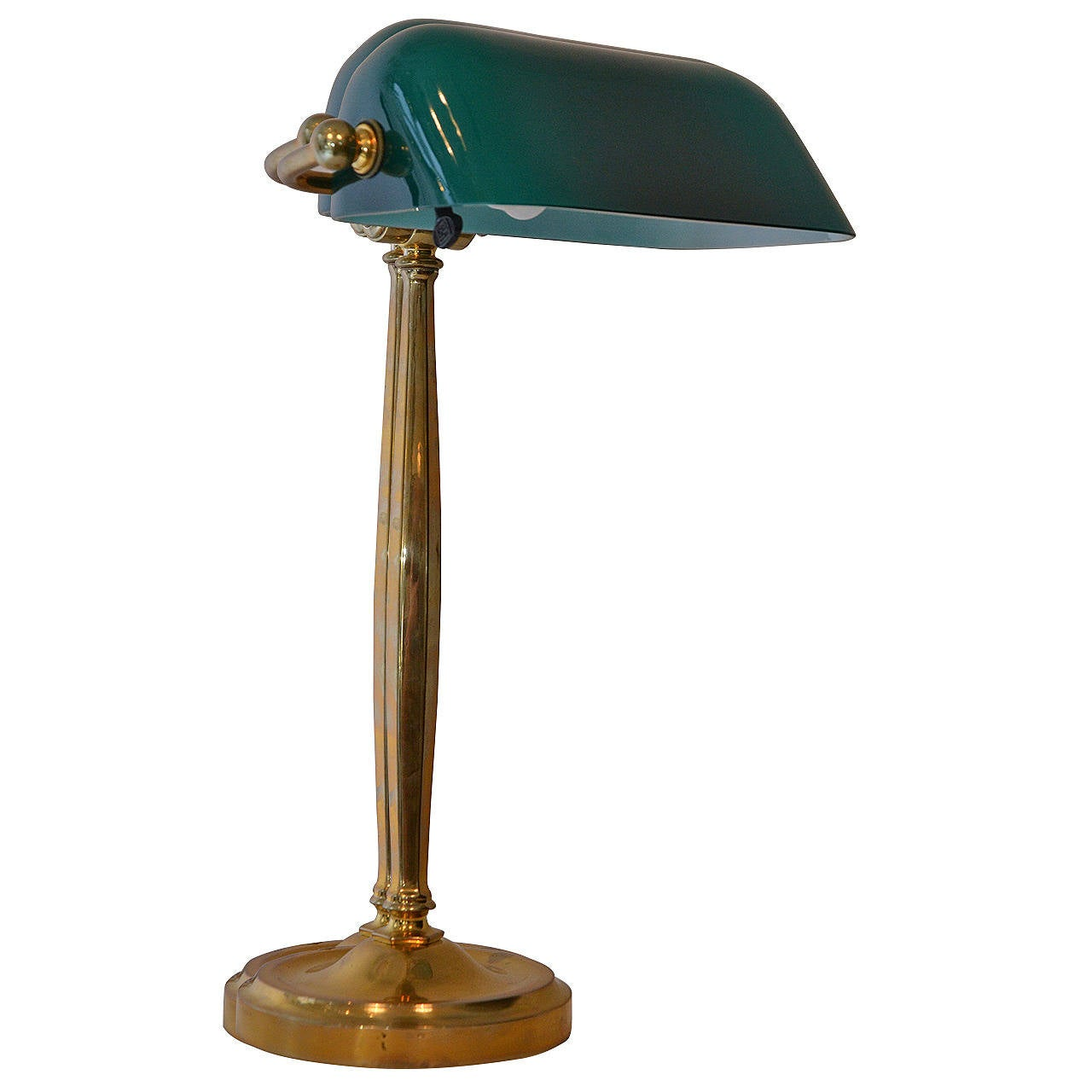 Brass Table Lamp With Original Green Glasshade For Sale At