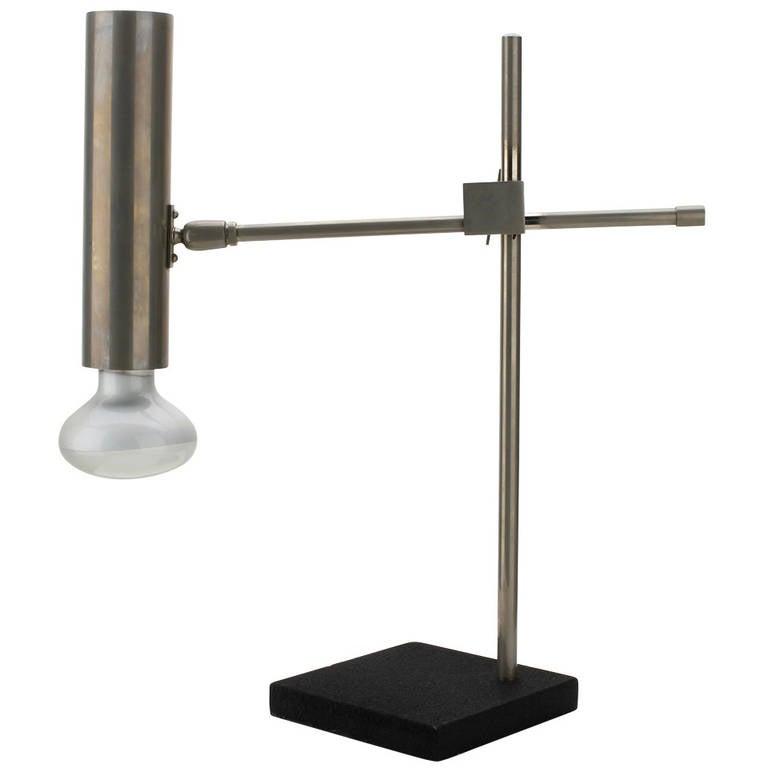minimalist stainless steel desk lamp italy 1950 39 s at 1stdibs. Black Bedroom Furniture Sets. Home Design Ideas