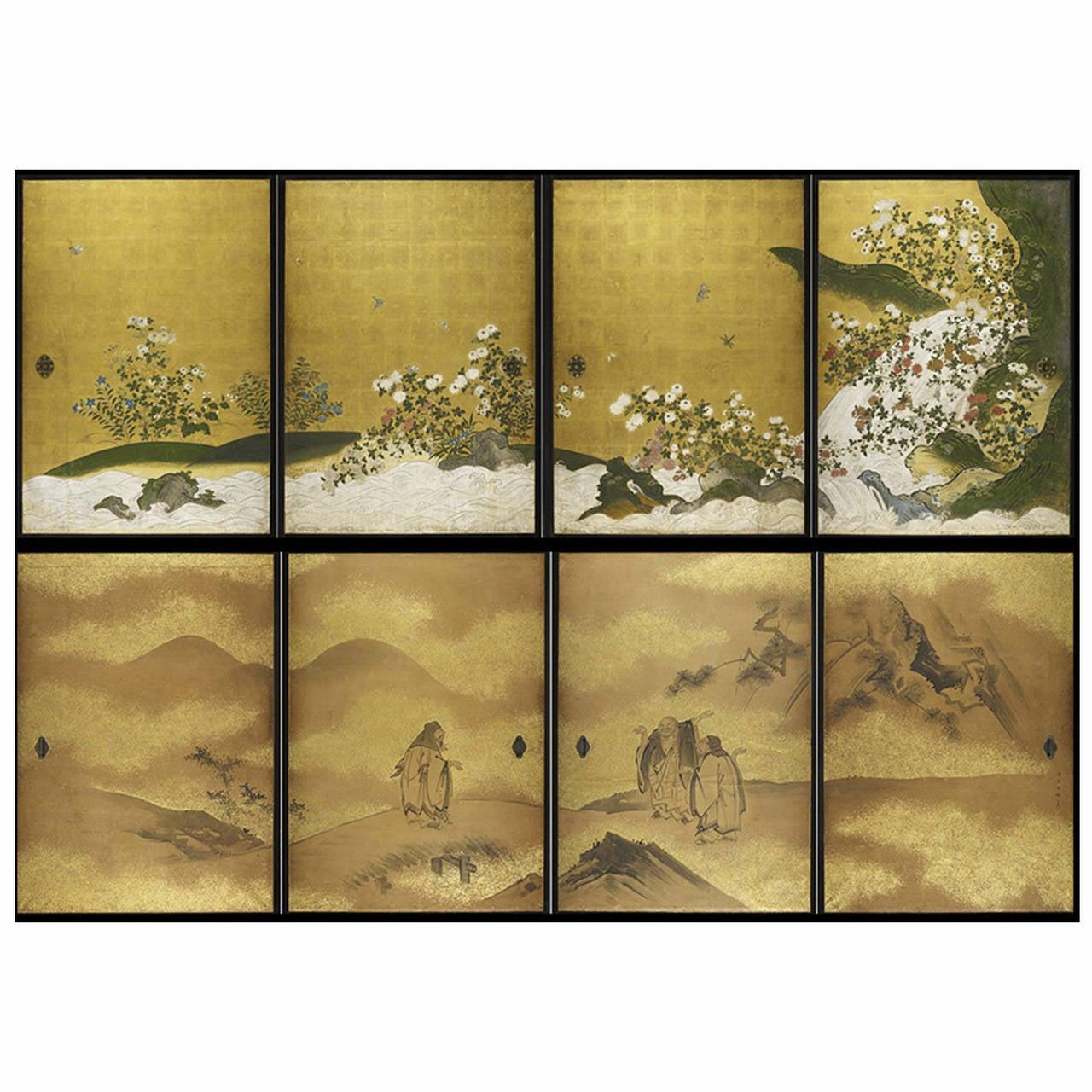 Complete Set Of 19th Century Quot Fusuma Quot Japanese Sliding