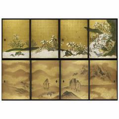 "Complete Set of 19th Century ""Fusuma"" Japanese Sliding Doors"