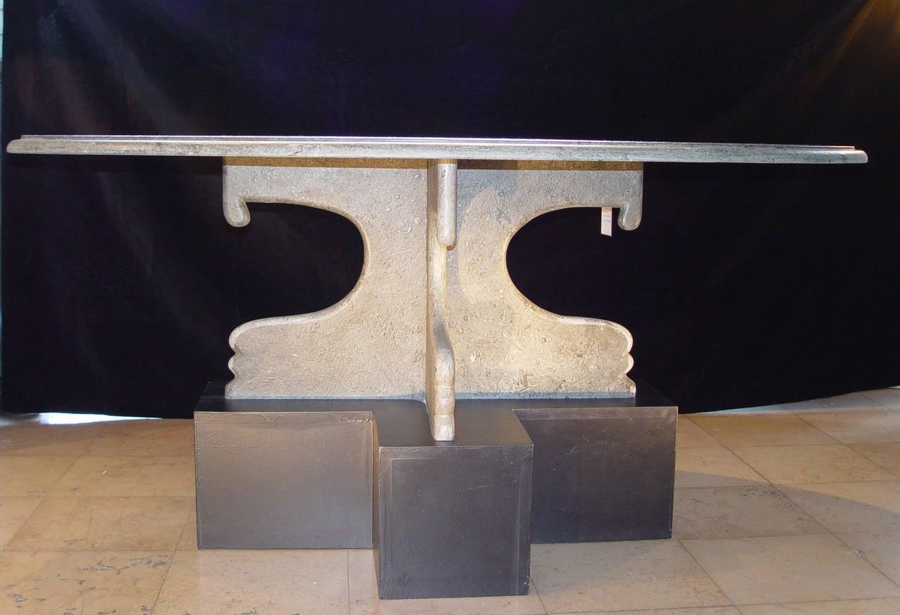 Oval Brasilian Green Slate Coffee Table For Sale At 1stdibs