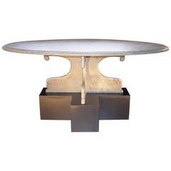 Oval Brasilian Green Slate Coffee Table