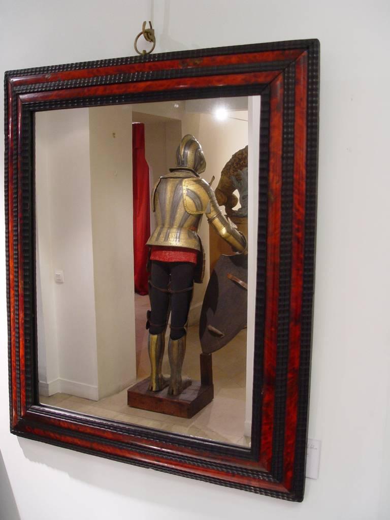 17th flemish ebony and tortoiseshell rectangular mirror for Miroir st antoine