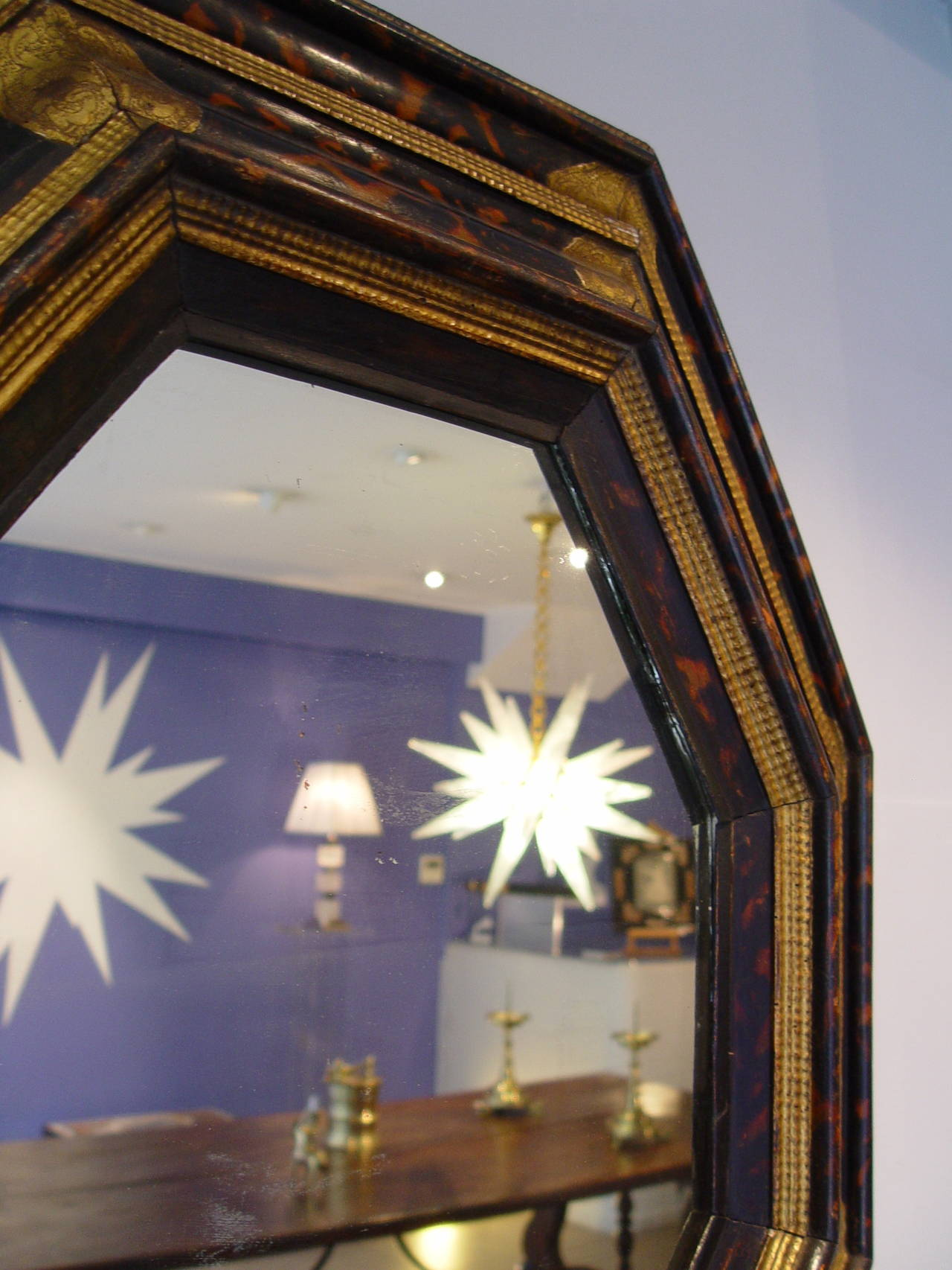 Italian 17th century octagonal mirror with tortoiseshell for 17th century mirrors