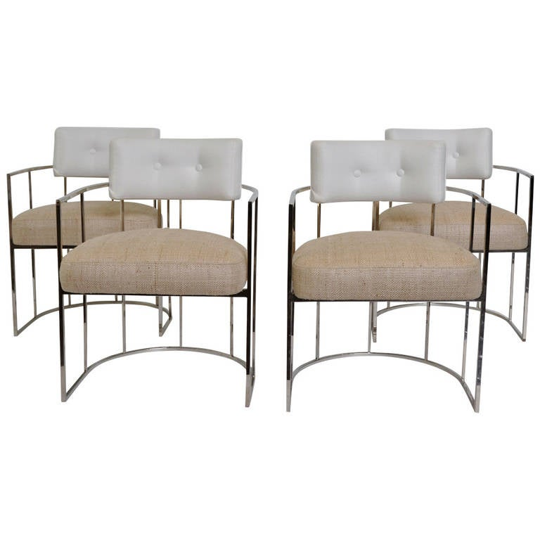 set of four milo baughman barrel back chrome dining chairs at 1stdibs
