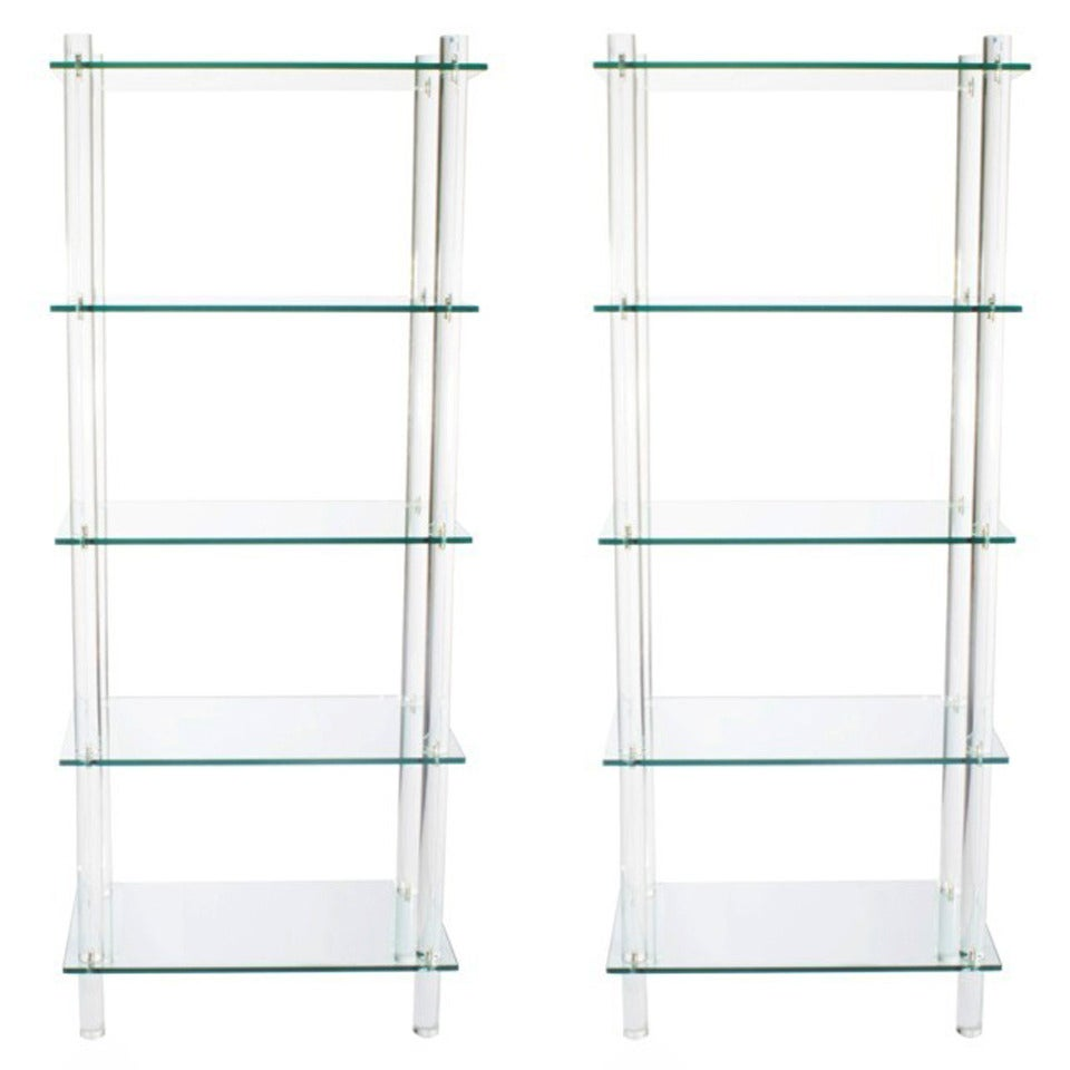 Flawless pair of minimalist glass and lucite tag res at 1stdibs - Etagere cases carrees ...