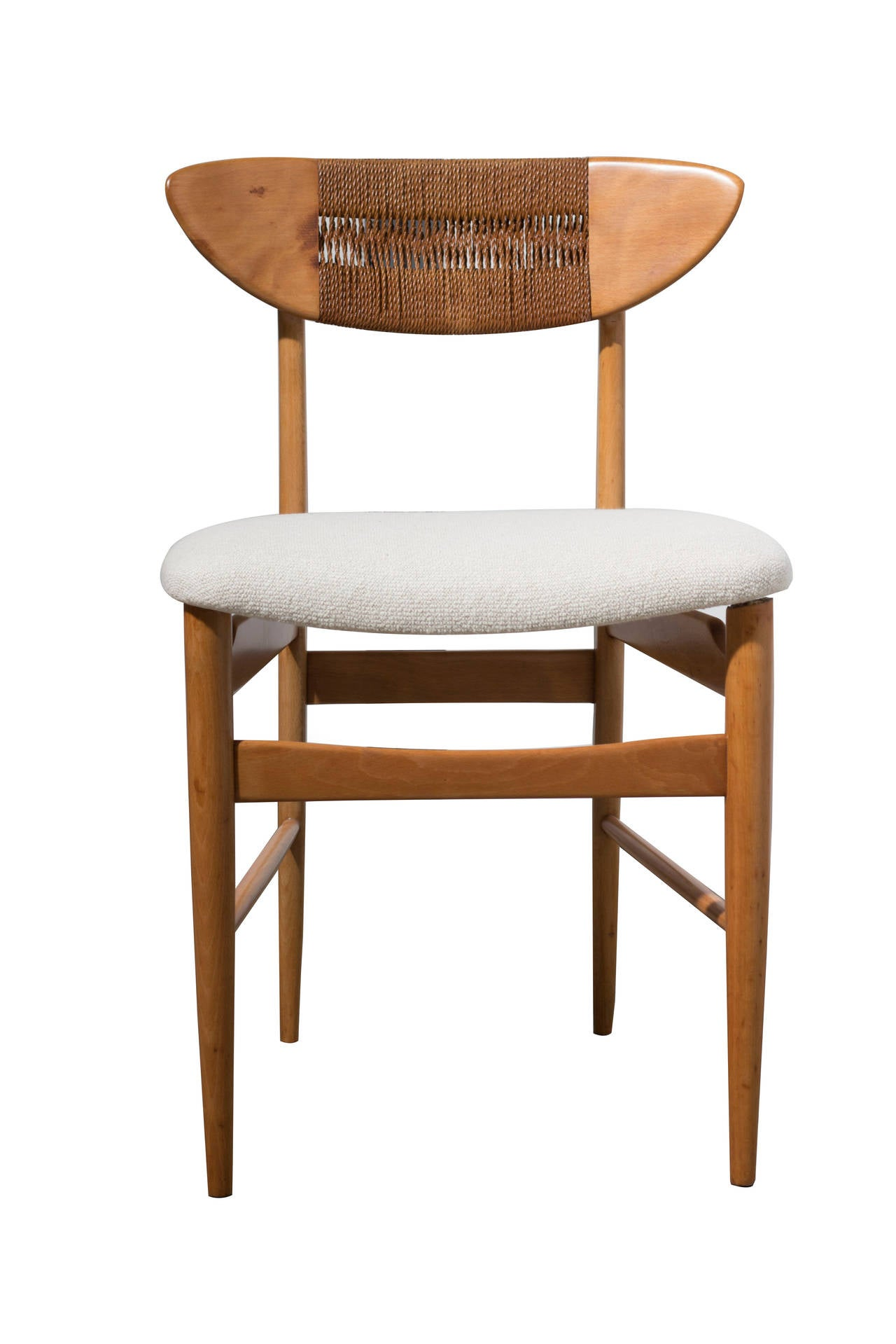 danish woven rope and teak side chairs in the manner of hans wegner at