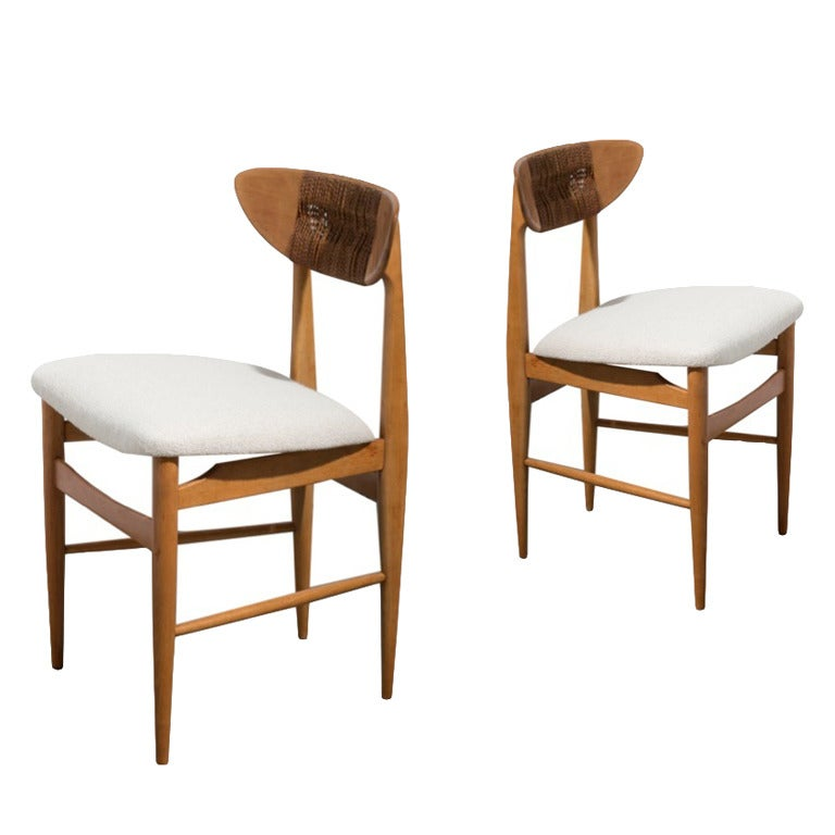 Danish Woven Rope And Teak Side Chairs In The Manner Of Hans Wegner At 1stdibs