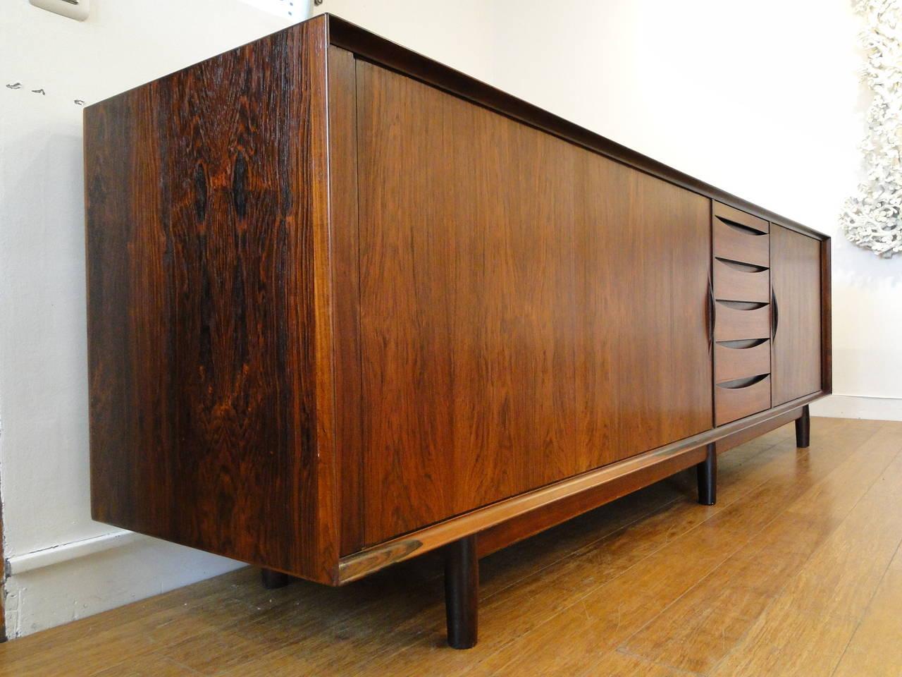 arne vodder tambour rosewood credenza sideboard at 1stdibs. Black Bedroom Furniture Sets. Home Design Ideas