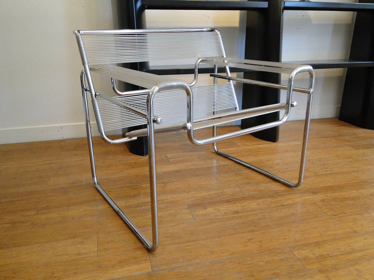Vintage pair of string and chrome wassily chairs at 1stdibs