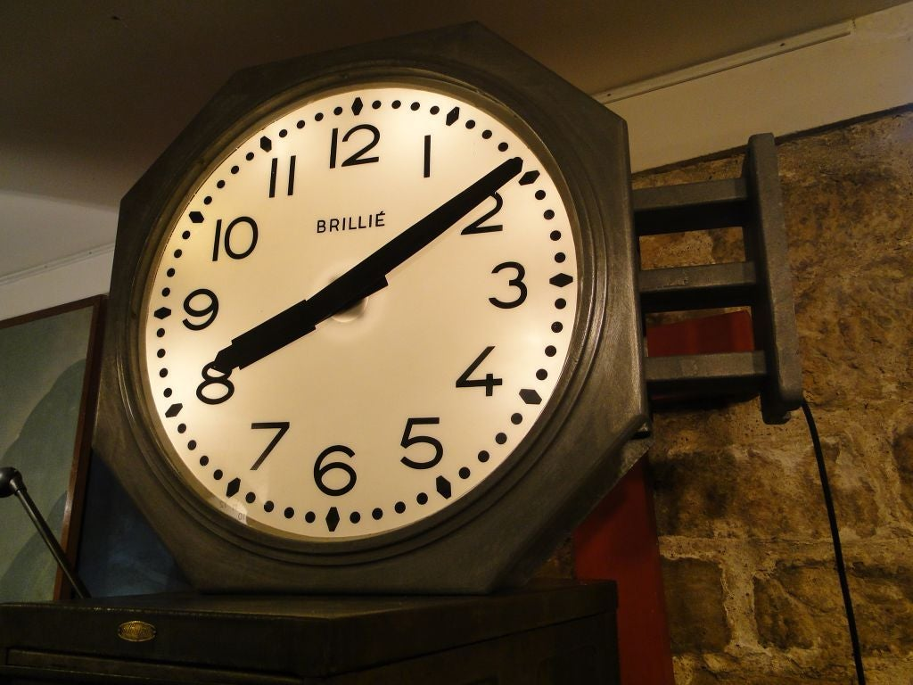 vintage french brillie station railway clock factory industrial double sided 2