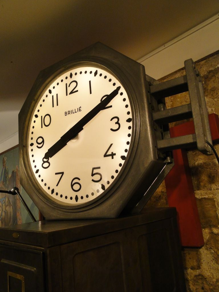 vintage french brillie station railway clock factory industrial double sided 3