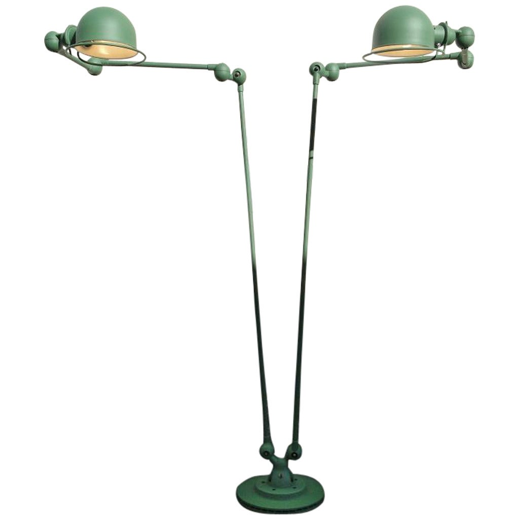 Double 3 Armed Jielde French Industrial Floor Reading Lamp