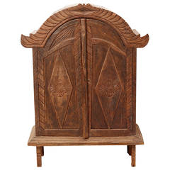 Colonial Era Cabinet, Carved Teak Planks, Indonesia circa 1950