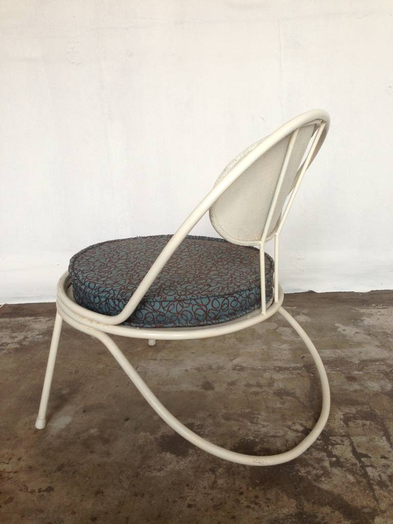 very rare 50ies Mategot lounge chair  Ateliers Mategot France, 1955 pervorated metal  grate sitting  cushion with fifties motives frame was long time ago  repainted
