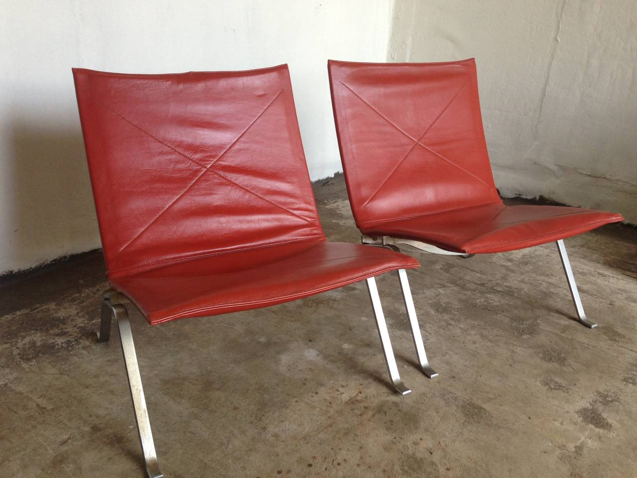 Two Poul Kjaerholm Leather Chairs First Editon Kold Christensen For Sale At 1stdibs
