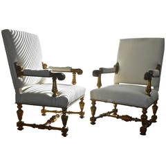 Theatrical Pair of Giltwood Armchairs
