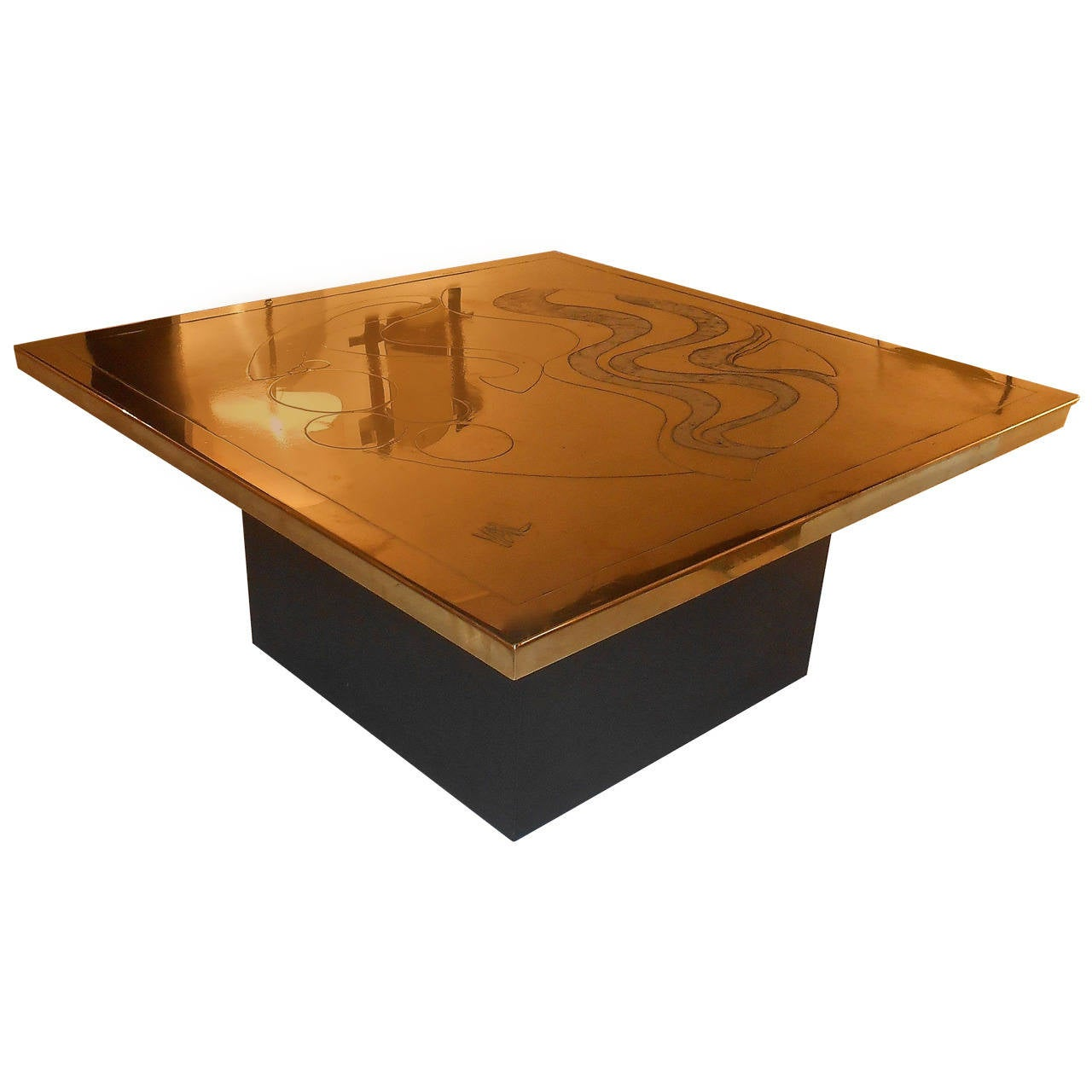 1970s Brass And Metal Coffee Table Signed Val For Sale At 1stdibs