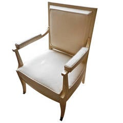 Elegant J. Quinet Ivory Lacquer Armchair