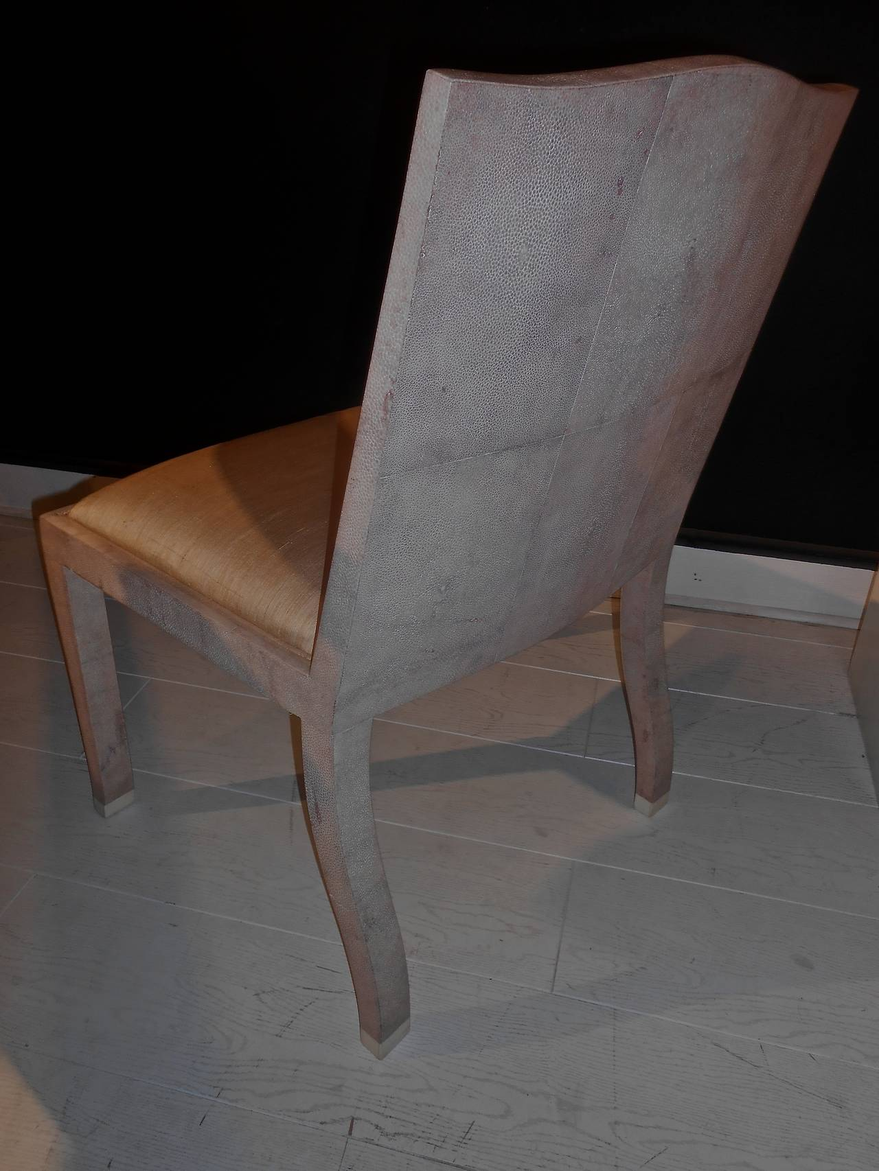 A Shagreen Covered Chair In The Style Of Jean Michel Frank For Sale 3