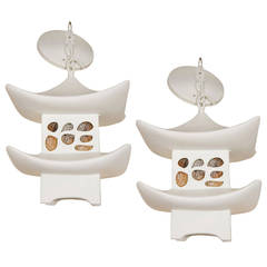 Pair of White Stone Pagoda Lanterns