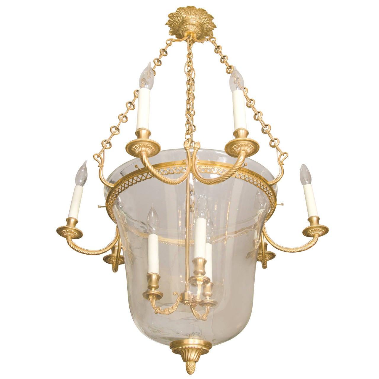 Empire Style Gilt Bronze Bell Jar Fixture At 1stdibs