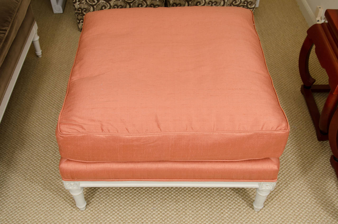 Louis Xvi Style Ottoman In Coral Silk Fabric For Sale At