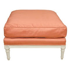 Louis XVI Style Ottoman in Coral Silk Fabric